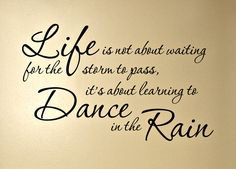 Life is not about waiting for the storm to pass, it's about learning to dance in the rain...