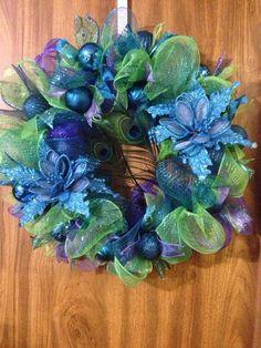 Peacock wreath, Christmas wreath, jewel-toned wreath by ImaginedByDonna on Etsy