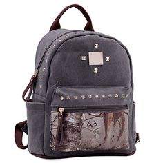 Dasein in Realtree Studded Canvas Zip Around Camouflage Backpack Purse - XG Camouflage/Grey ** Click image for more details.