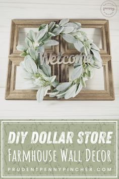 Add a touch of farmhouse style to your home decor on a budget with this cheap and easy DIY dollar store farmhouse wall decor idea. Easy Diy Room Decor, Diy Garden Decor, Diy Crafts For Home Decor, Easy Garden, Dollar Store Crafts, Dollar Stores, Farmhouse Wall Decor, Farmhouse Style, Dollar Tree Decor