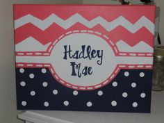 Perfect for a nursery or bedroom!! Chevron and Polka Dot - Personalized for Girl with Name - 11x14 Canvas Wall Art $25, AuntieEmArt