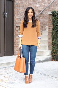 I love this combo of the blue gingham and camel.