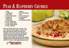 Pear & Raspberry Crumble Recipe  Postcard - Find the Real Estate Postcard That Works for Your Farm