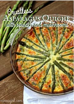 Crustless Asparagus Quiche with Spinach and Mushrooms  http://minougirl.com/2014/06/crustless-asparagus-quiche-with-spinach-and-mushrooms/