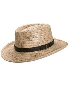 Tommy Bahama gambler hat. Buri straw and croc-embossed leather band. 68.00