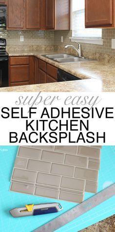 Mini kitchen makeover with SMART TILES backsplash. Super easy and affordable!