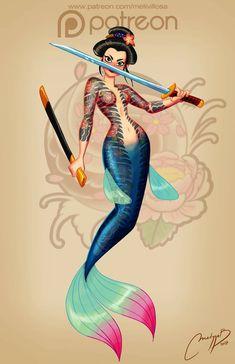 Is this... badass Mulan as a mermaid? LOVE IT. Mermaid Artwork, Mermaid Drawings, Mermaid Tattoos, Mermaid Paintings, Siren Mermaid, Mermaid Fairy, Fantasy Mermaids, Mermaids And Mermen, Real Mermaids