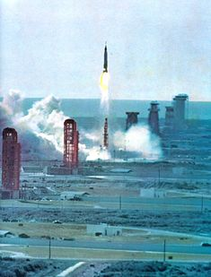 """From the Time/Life """"To The Moon"""" an audio and visual chronology that documents NASA's Mercury, Gemini and Apollo projects. Above: Friendship 7 (Mercury) soars skyward carrying John Glen. Cosmos, Space Projects, Space Crafts, Sistema Solar, Grand Tour, Project Mercury, American Space, Moon Time, Kennedy Space Center"""