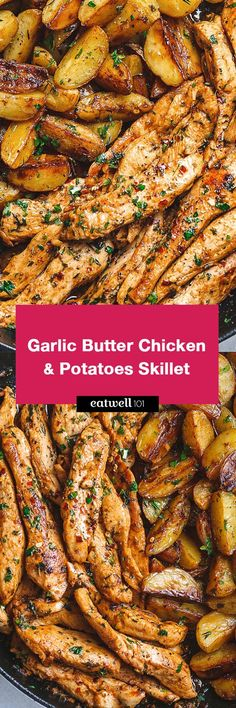 Garlic Butter Chicken and Potatoes Skillet Garlic Butter Chicken and Potatoes Skillet – One skillet. This chicken recipe is pretty much the easiest and tastiest dinner for any weeknight! Chicken Skillet Recipes, Chicken Recipes For Kids, Chicken Flavors, Skillet Potatoes, Chicken Potatoes, Cheesy Potatoes, Garlic Butter Chicken, Balsamic Chicken, Health Dinner