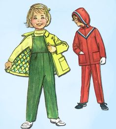 """Simplicity Pattern 2286 Toddler Girl's Coat and Overalls Pattern with Hood Dated 1957 Factory Folded and Unused Nice Condition Overall Size 1 (20"""" Bust)"""
