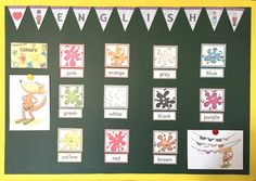 Materialwiese: Einblicke in meine Englischecke Orange Grey, Purple Yellow, Green And Grey, English Classroom, Beaches In The World, English Lessons, Learn English, Teaching English