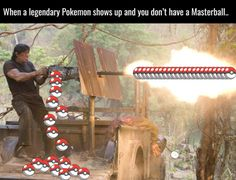 When a Legendary Pokemon shows up and you don't have a Masterball