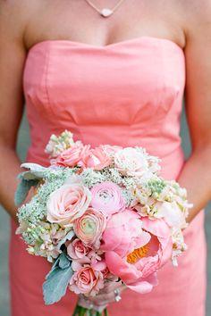 happy pink ranunculus + peony bouquet | Kristyn Hogan #wedding
