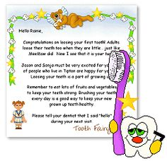 Tooth fairy land a cute site where you can get free for Fairy letters to child