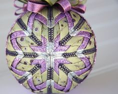 Quilted Ornament Ball/Purple and Green - Holiday Jewel on Etsy, $25.00
