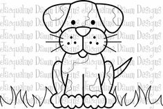 Digital Stamp  Cute Puppy by paperaddictions on Etsy, $2.20