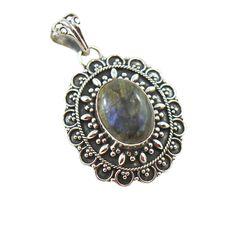 Designer Blue Fire Labradorite and Filigree Sterling Silver Pendant - Silver Trendz