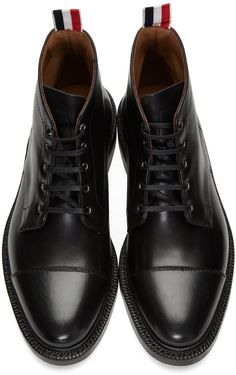 online store b2c32 675c5 Thom Browne - Black Cropped Derby Boots