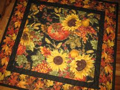 Fall Autumn Pumpkin Sunflowers Table Topper, Quilted Orange Yellow Black Gold Leaves Halloween Fall Autumn Decor Handmade by TahoeQuilts on Etsy