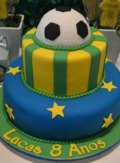 Brazil Soccer party cake! See more party planning ideas at CatchMyParty.com!