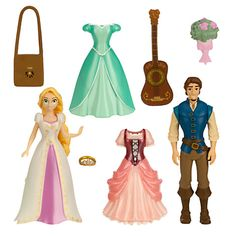 Tangled Deluxe Figure Fashion Set ($20 at DisneyStore.com) - Made especially for Walt Disney World and Disneyland, this set includes Rapunzel and Flynn Rider figures. Includes two additional dresses, guitar, purse, flower bouquet and tiara. The figures are up to 3.75'' high.