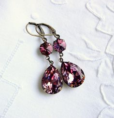 Double Swarovski Antique Pink Estate style earrings