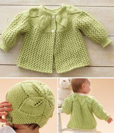 Free Knitting Pattern for Leaf and Lace Baby Set - Baby layette with matching hat, jacket and booties featuring leaf lace motifs. Sizes Preemie, Newborn, 0/3, 6/12 months. Designed by Patons