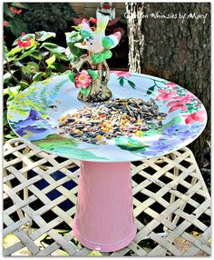 Shabby Chic Garden Totem / Bird Feeder / by GardenWhimsiesByMary, $35.00