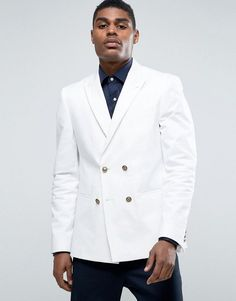 Asos Skinny Blazer In White With Gold Buttons