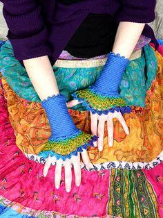 Ombre Gloves In Denim Blue