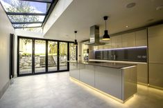 A great way to open up space on your ground floor, rear or side extensions can be used to open out kitchens and dining rooms or develop a garage, often combined with alterations to internal rooms. Kitchen Extension Side Return, Side Extension, Glass Extension, Extension Ideas, Bungalow Extensions, Garden Room Extensions, House Extensions, Open Plan Kitchen Dining Living, Open Plan Kitchen Diner