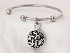 Stainless Steel Tree Of Life Cremation Keepsake Charm Bracelet with Fill Kit. Charm Bracelet