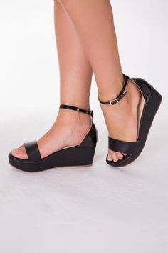 Black Open Toe Flatform Strappy Sandal from LUSTY CHIC