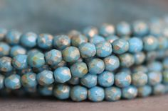 Czech Glass Beads, 4mm, Faceted, Round, Sky Blue, Picasso, Fire Polished, Seed Beads, 50 pieces by StoneCreekSurplus on Etsy