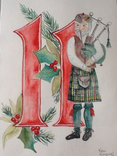 Pipers Piping 12 Days of Christmas    Kerri Kimbriel.  Watercolor