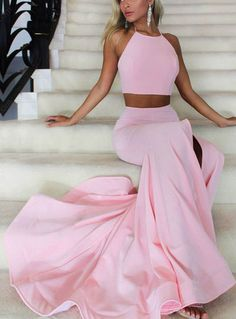 2018 Halter Prom Dresses Sleeveless Sweep/Brush Train With Ruffles Satin Two Piece Dresses Sexy Formal Dresses, Prom Dresses Long Pink, Senior Prom Dresses, Dresses Elegant, Prom Dresses Two Piece, Prom Dresses 2018, Backless Prom Dresses, Beautiful Prom Dresses, Cheap Prom Dresses