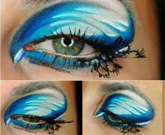 Escape to a world under the sea with this fantasy eye makeup. False paper lashes shaped like underwater plants really bring this look to life. Underwater Plants, Undersea World, Sea Waves, Eyeshadow Makeup, Under The Sea, Makeup Tips, Lashes, Exotic, Beauty