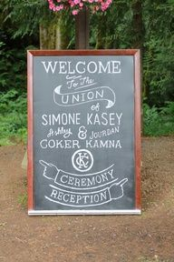 welcome sign idea for wedding chalk board