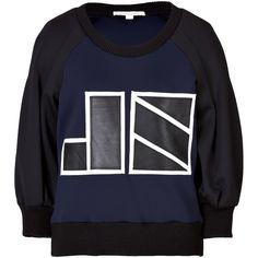 Jonathan Simkhai Neoprene Logo Sweatshirt (795 SAR) ❤ liked on Polyvore featuring tops, hoodies, sweatshirts, multicolored, loose fitting tops, colorful sweatshirts, color-block sweatshirt, 3/4 length sleeve tops and multi colored sweatshirts