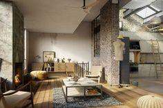 Un loft ispirato a Venezia, caratterizzato da uno stile rustico e vintage, con colori tenui.