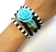 Home › sweetie2sweetie › SKULL Bracelets/Necklace  Favorite  Like this item?  Add it to your favorites to revisit it later.  80's Retro Style Baby Blues Day of the Dead Bracelet Sugar Skull Wrap Around Cuff