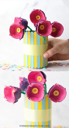Egg Carton Flowers - such a fun recycled craft for kids using egg cartons! Makes a nice Mothers Day gift too! Craft Activities For Kids, Fun Crafts For Kids, Preschool Crafts, Art For Kids, Preschool Ideas, Flower Crafts Kids, Kids Birthday Crafts, Craft Projects For Kids, Egg Carton Art