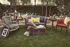 WEDDING DECOR IDEAS- Bring the indoors, outdoors with vintage sofas and tables for an ad hoc lounge area. Great for marquee or barn style weddings.