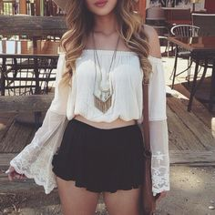 My shorts or skirt would be longer, but love the look :)