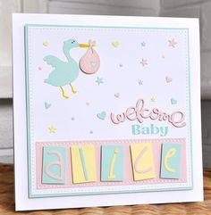 Paper Smooches and Silhouette Cameo new baby card by Inkyfingered Carol. Love the pastel colours and the cute stork with the baby bundle.