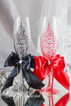 Red and Black wedding glasses, personalized, collection art deco, satin bows, lace, luxury traditional, wedding champagne flutes, 2pcs. by DiAmoreDS on Etsy https://www.etsy.com/listing/239545646/red-and-black-wedding-glasses