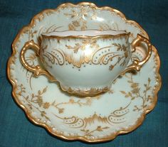 C Antique LIMOGES France 2 Handles Cup & Saucer Fancy GOLD on Pale Green & White