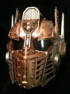 Steampunk Optimus Prime Helmet Transformers  Life Size Cosplay  Battle damaged Copper. $175.00, via Etsy.