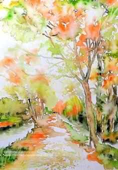 Cammino d'autunno, watercolor, Cristina Dalla Valentina Gallery