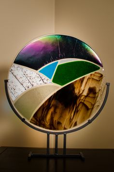 Fused Glass. Kiln Formed. Handmade. Deco Stand Piece - Mission style base.